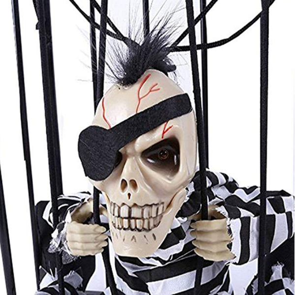 Hanging Caged Animated Jail Prisoner Skeleton with Motion Sensor Voice Activated Scary Spooky Halloween Prop