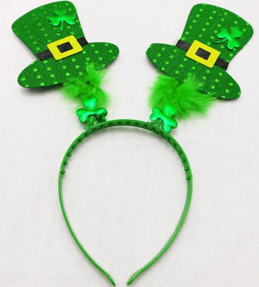 St. Patrick Day Green Leprechaun Shamrocks Boppers Headband