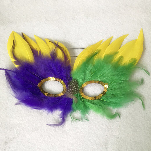Purple Green and Gold Mardi Gras Feather Masquerade Masks