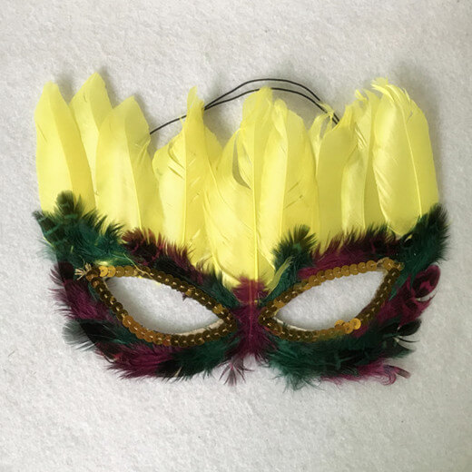 6 Assorted Purple Green and Gold Feather Mardi Gras Masquerade Masks