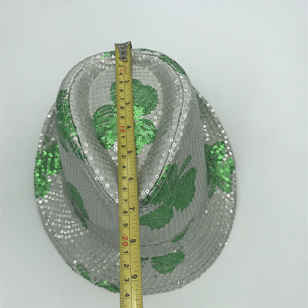 St.Patrick Sequin Hats with  White/Green Shamrock St. Patrick Sequin Hats with Green Shamrock Patrick Day Supplies