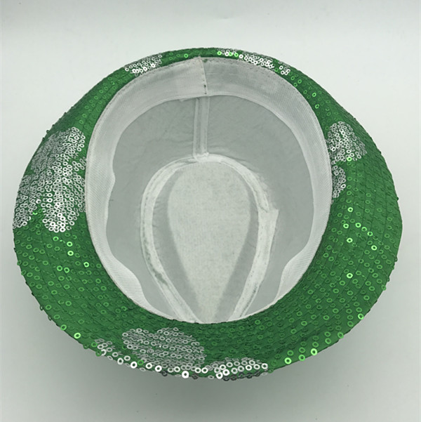 St.Patrick Sequin Hats with White ShaSt. Patrick Sequin Hats with Green Shamrock Patrick Day Supplies