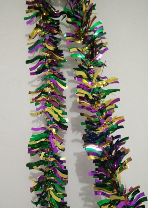 Mardi gras tinsel garland metallic wave