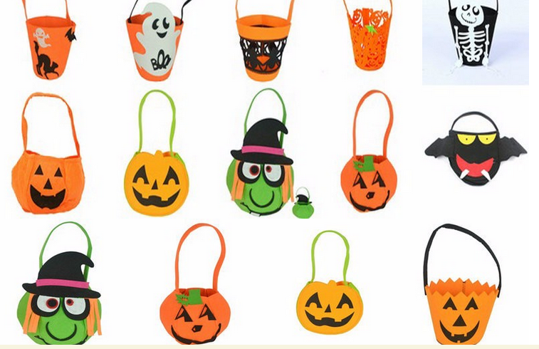 Non Woven Halloween Party Supplies Halloween Orange Candy Trick Bag