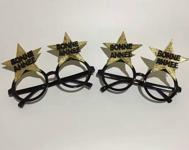 Happy New Year Glitter Glasses Eyeglasses with  Hat
