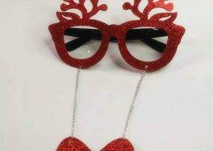 Xmas Party Glasses Suplies Red Reindeer Eye Glasses