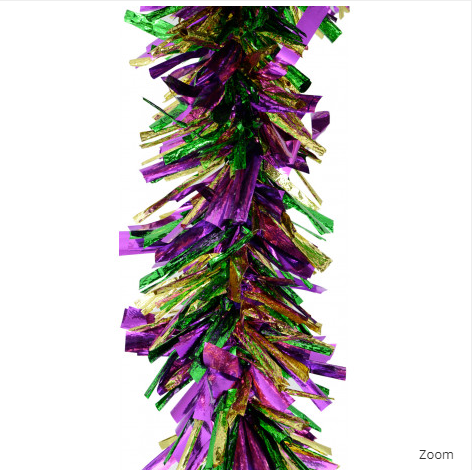 "10"" x 9' Jumbo Mardi Gras Tinsel Garland Mardi Gras Wholesale Garlands"