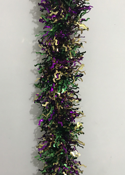 "3.5"" X 9' Mardi Gras Sqiggly Tinsel Garland Mardi Gras Supplies"
