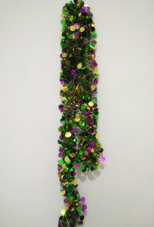 Mardi Gras Garlands Metallic PGG Dot Tinsel Garland