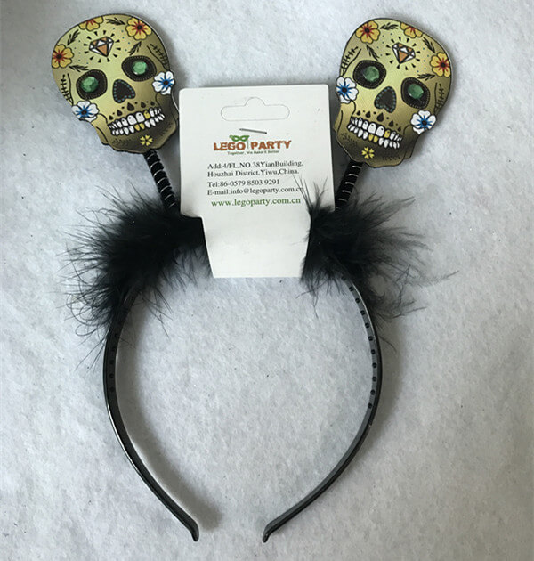Halloween Suger Skull Head Headbands Bopper Day of the Dead Supplies