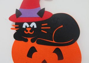 Halloween Wall Home Door Decoration Non Woven Pumpkin with Black Cat