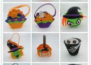 Non Woven Halloween Party Supplies Halloween Orange Candy Trick Bag