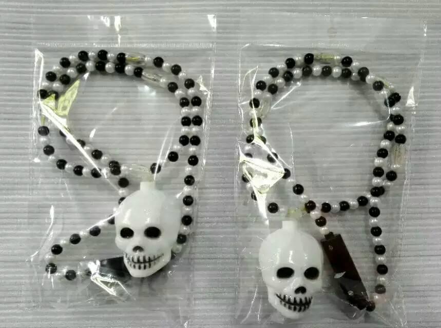 Halloween Lights Light Up Beads Skull shape Necklace