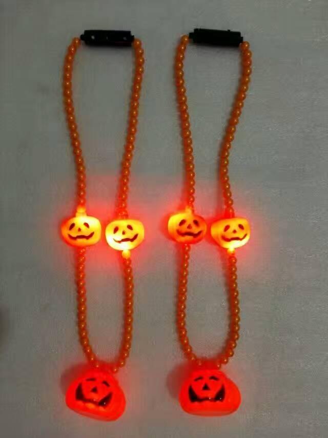 Halloween Lights Light Up Beads Pumpkin shape Necklace