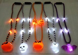 Halloween Lights Light Up Beads Skull Ghost Pumpkin Skull Bat Beads Necklace