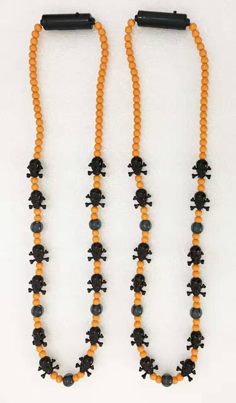 Halloween Lights Light Up Beads Spider with Orange Beads with Spieder Necklace