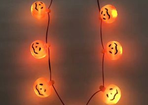 Halloween Lighting Light Up Beads Pumpkin-shaped Necklace