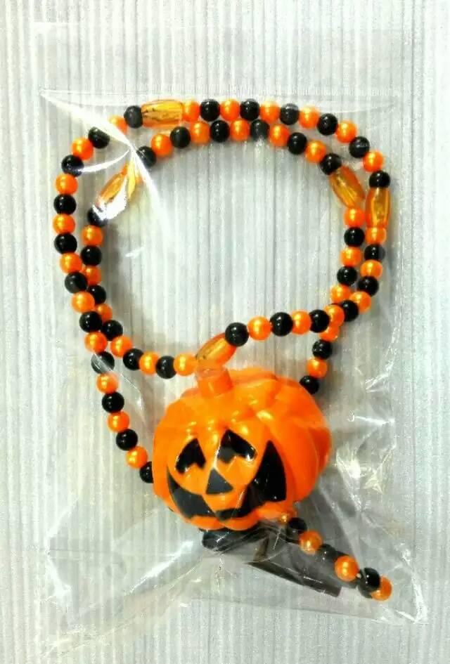 Halloween Lights Light Up Beads Skull Pumpkin Orange Black Necklace