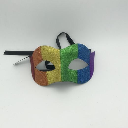 Rainbow Glitter Mardi Gras Masquerade Masks