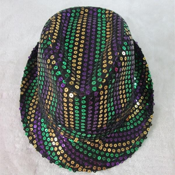 Mardi Gras Hats Purple Green Gold Sequin Stripe Hats