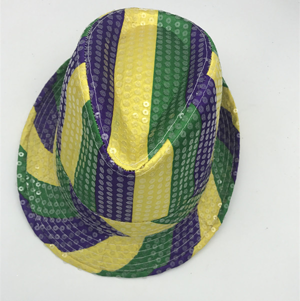 Purple Green Gold Mardi Gras Glitter Hats Stripe Sequin Hat With Fabric Party Hats