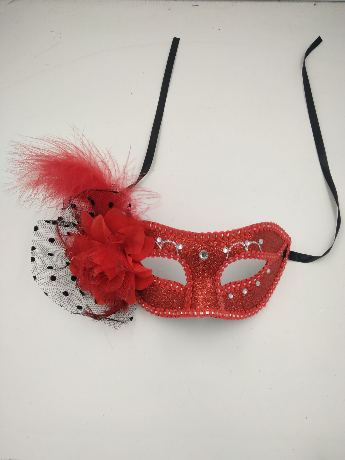 Halloween Red Lace Mask Dancing Ball Lace Glitter Mask with Flower and Diamond