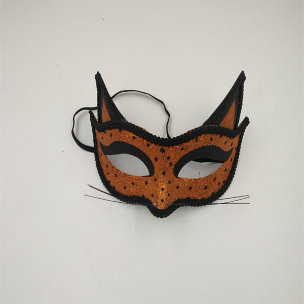 Adult Halloween Cat Mask Orange Glitter Mask with Little Black Spot