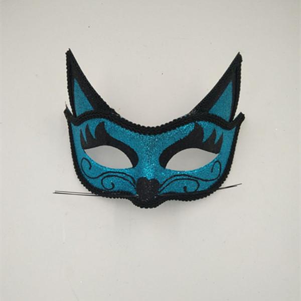 Halloween Party Masks Multi-style Cat Eye Blue Black Glitter Mask