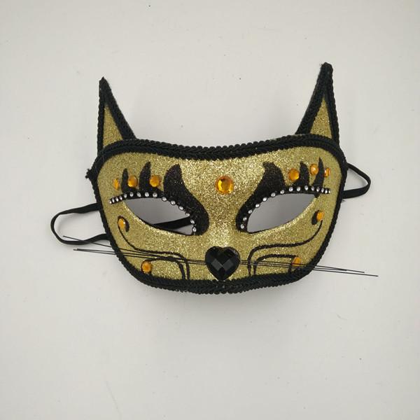 Halloween Cat Masks Gold Black Glitter Cat Eyemask with Rhinstone