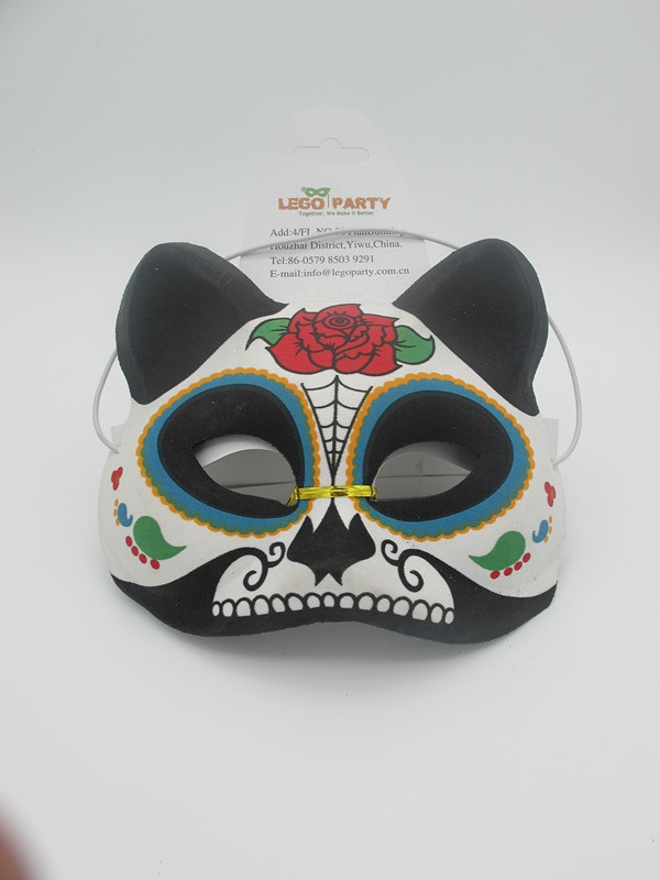 Day of the Dead Carnival Party Supplies Cat Eye Mask with Rose