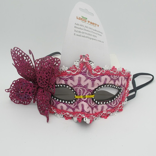 Valentine Day Masks Party Pink Mask with Butterfly and Black Ribbon