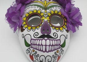 Day of The Dead Masks Sugar Skull Mask with Flowers and Elastic Band