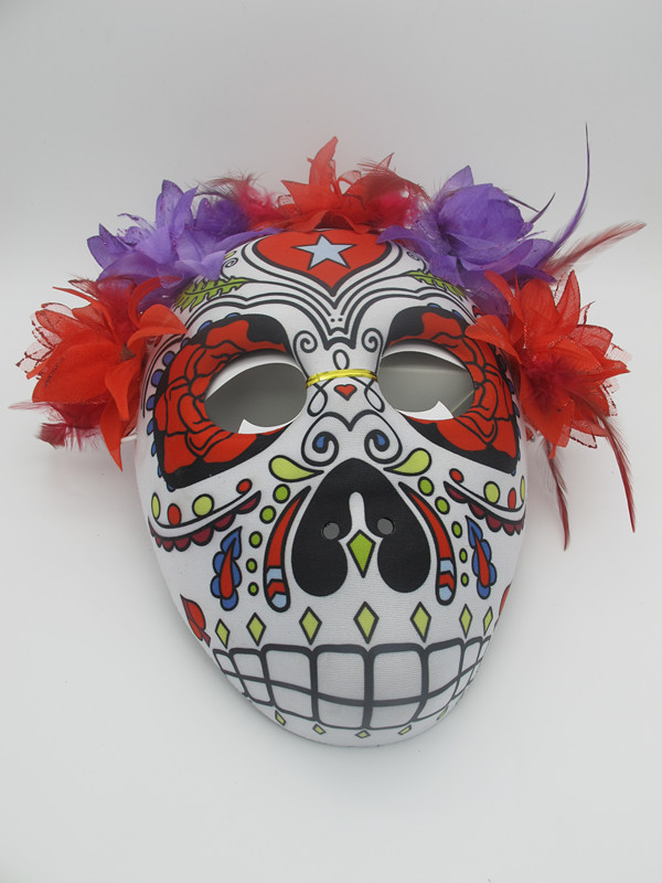 Day of The Dead Masks Sugar Skull Mask with Purple Flowers and Elastic Band