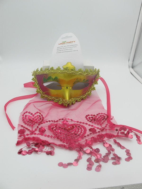 Valentine Day Party Masks Gold Pink Eye Mask with Heart Pink Veil