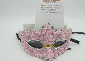 Valentine Day Masks Pink Net Eye Mask With Diamond Mask