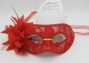 Christmas Party Masks Red Lace Mask with Glitter Flower