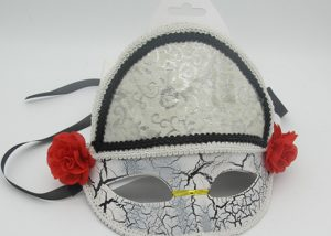 Carneval Party Masks Eyemask Fabric Masks with Red Flower and Fringe