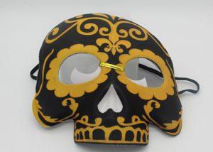 Day of The Dead Half Masks Black/Gold Black/Purple Halloween Mask