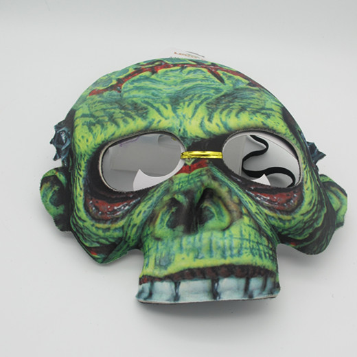 Fabric Halloween Spook Green Mask Costume Mask