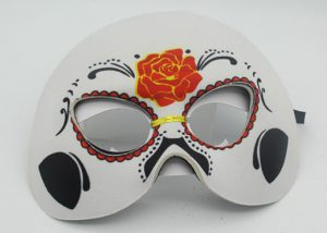 "White/Black Rose Half Mask 6"" Day of The Dead Costume Dress Wear"