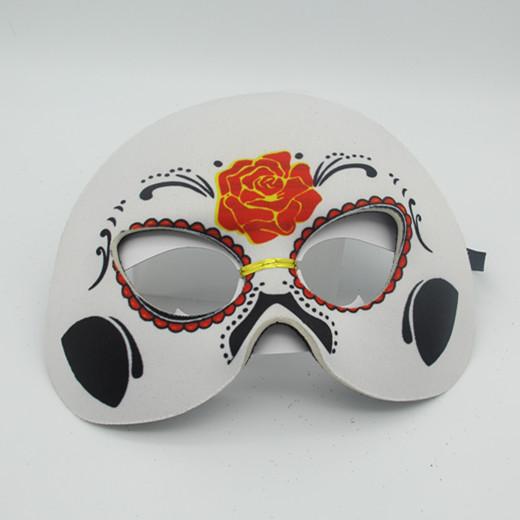 "White/Black Rose Half Mask 6"" Day of The Dead Costume Dress Wear"