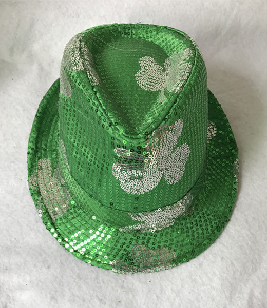 St.Patrick Sequin Hats with Green Shamrocks Patrick Day Supplies