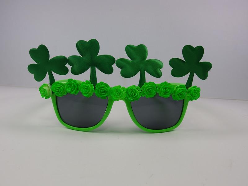 St. Patrick Green Sharmrock Fancy Eye Glasses