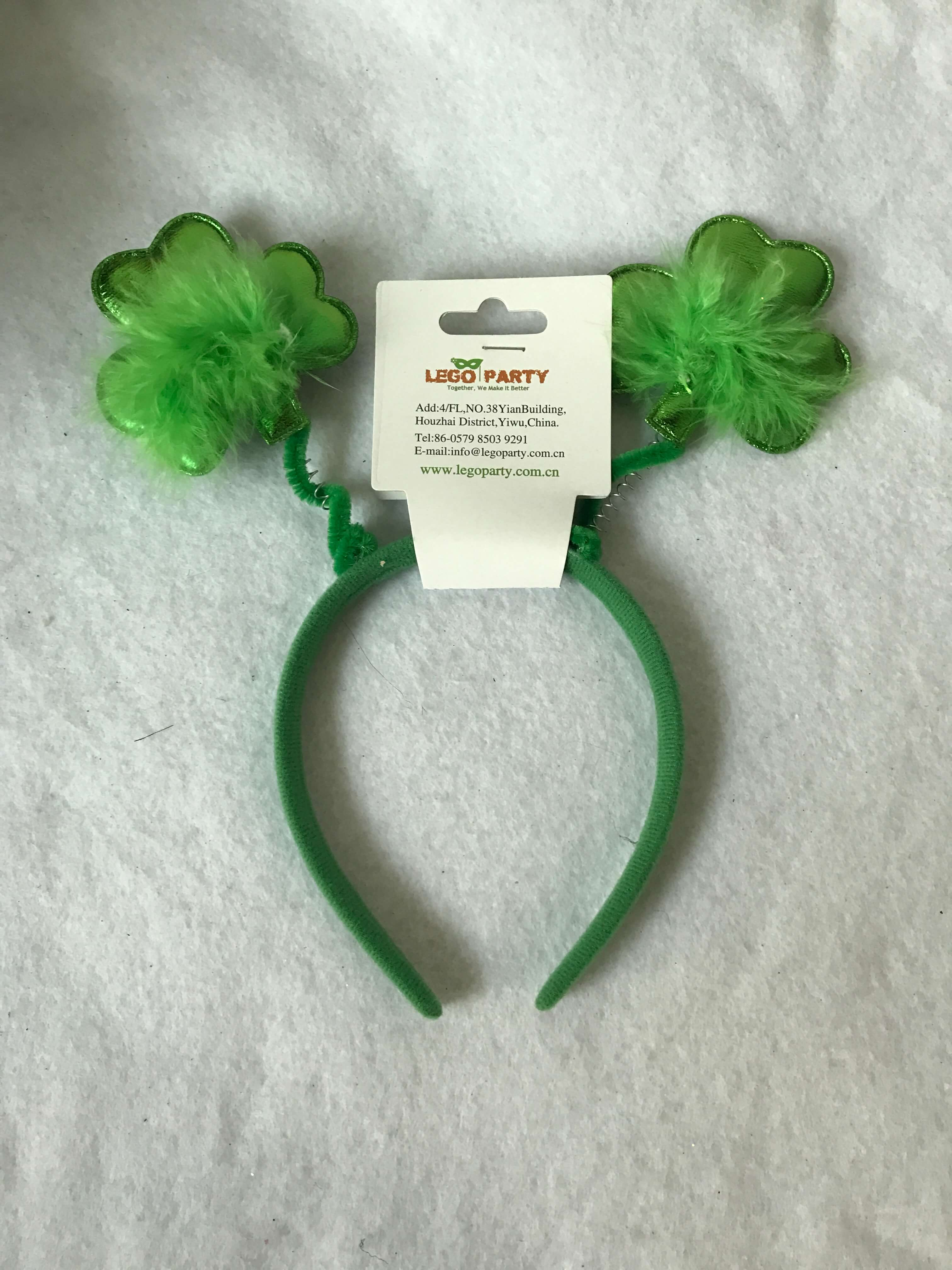 Shamrock Headband W Feathers