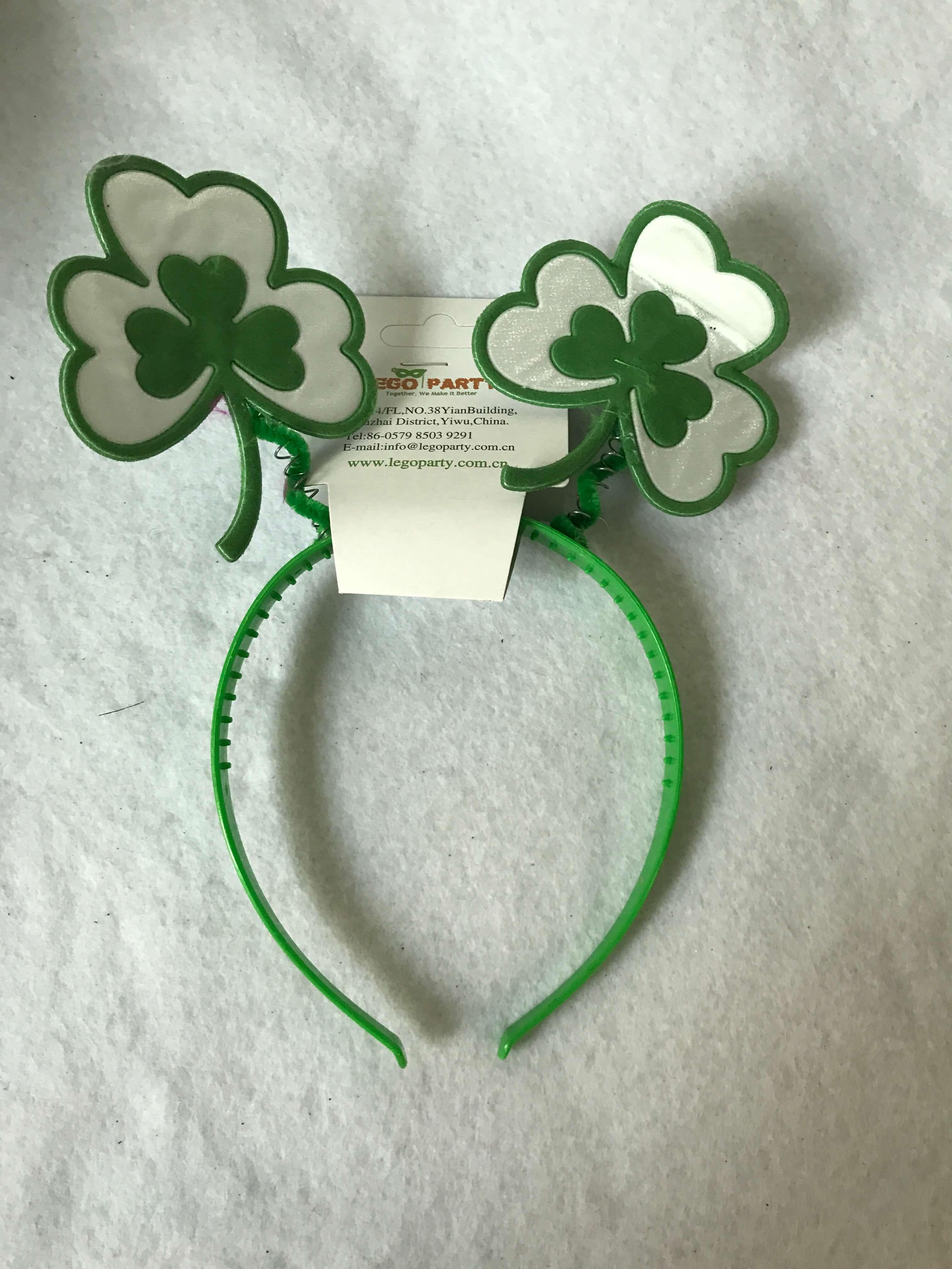 Green Shamrocks w Feathers St. Patrick Day Headbands Boppers