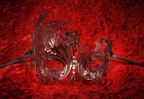 Venetian Masquerade Masks Metal Laser Cut Mireille Black