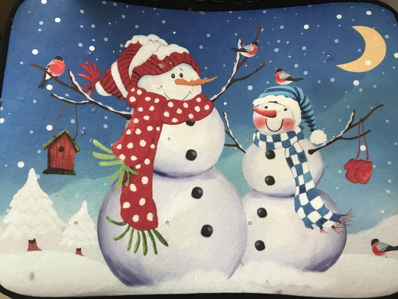 Christmas Snowman LED Lighting Carpet for Bathroom X-mas Decor