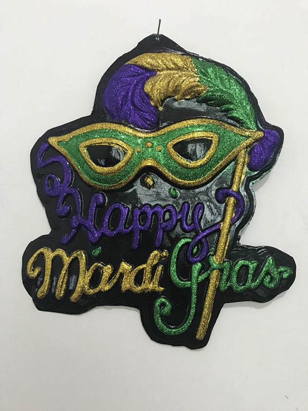 "20"" X 19"" Happy Mardi Gras Sign Mask Deco Outdoor Wall Decoration"