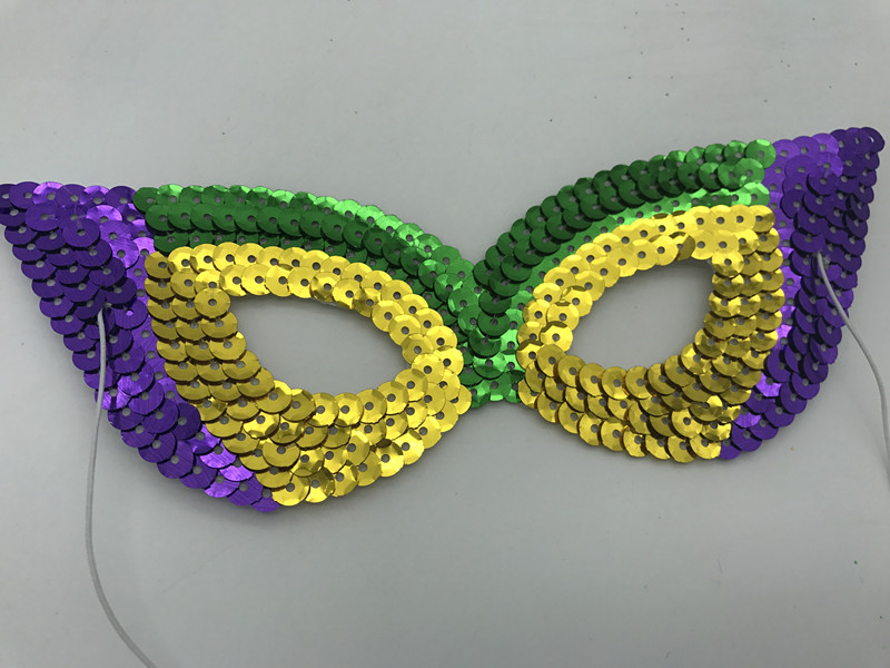 PGG Cat Eye Sequin Mask for Mardi Gras Masquerade Mask