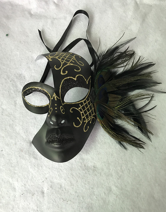 Venice Moon Peacock Black Mask